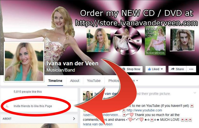 Invite your friends to like Ivana van der Veen's FaceBook page